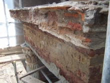 First stage: remove loose and damaged stone, brick and mortar
